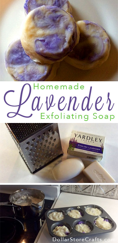 Lavender Exfoliating Soap - This project uses a cut-up bath scrubbie to add a built-in exfoliator to each bar, and it also gives them a fun and distinctive look.