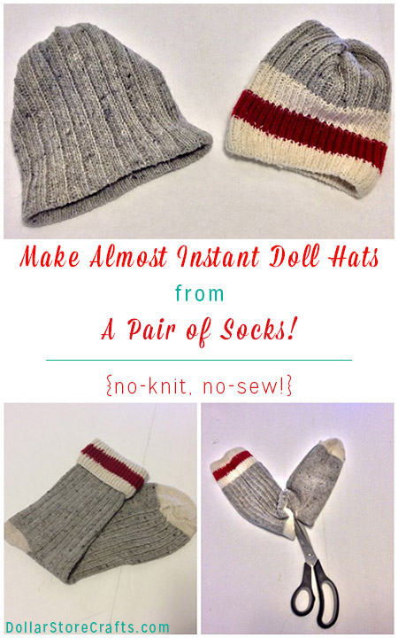 Can't knit or crochet but need a cute cap for a doll, snowman, or other craft project? If you have a sock, rubber band or twist ties, scissors and hot glue, you're good to go!