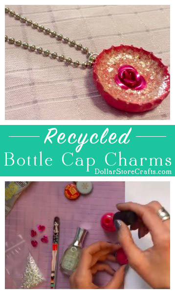 "Enameled Bottle Cap Charms - Recycle bottle caps into ""enameled"" charms or pendants! All it takes is a bottle cap, some nail polish, and some small embellishments."