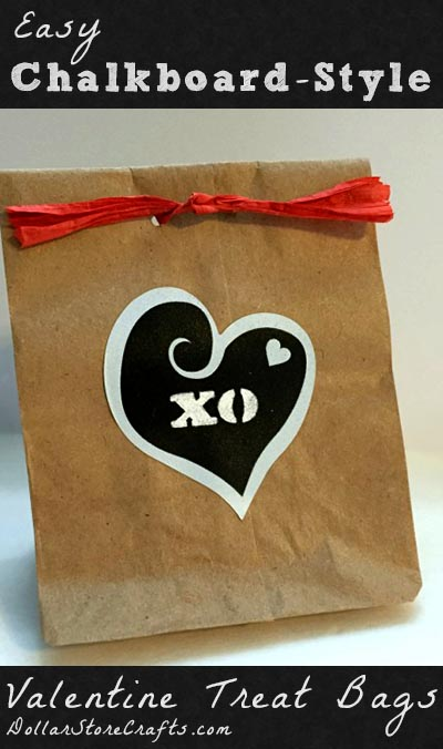 Easy Faux Chalk Valentine Treat Bags - Need to make lots of cute Valentine treat bags? Then you are probably also looking for an idea that is quick and easy - and this project fits the bill!