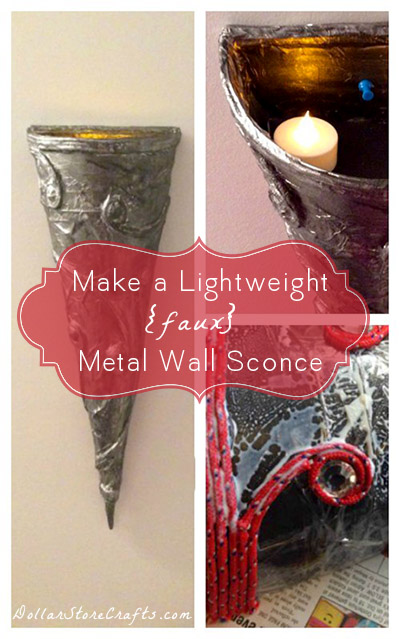 DIY Wall Sconce - Love the look of a fancy wall sconce, but don't think you have the decor budget to get one?  Think again! This lovely faux DIY wall sconce can be used to hold seasonal silk branches or with a built in shelf, a night light with battery operated candles.  Or any other lightweight items you can fit into it!