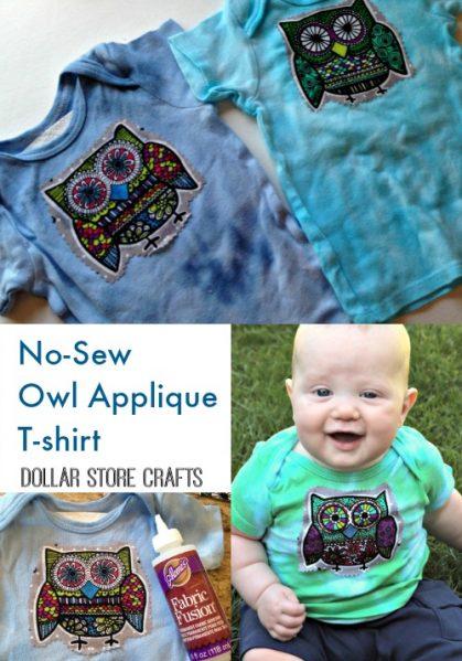 no sew owl applique t-shirt
