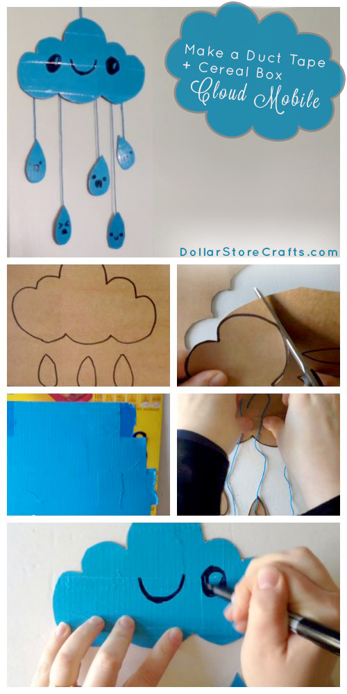Make a Duct Tape Cloud Mobile - Got duct tape? That's the main ingredient in this adorable rain cloud mobile! Grab a roll, along with some cardboard out of your recycling bin and watch Heather's video to see how to make your own. Not into videos? We've also got written instructions!