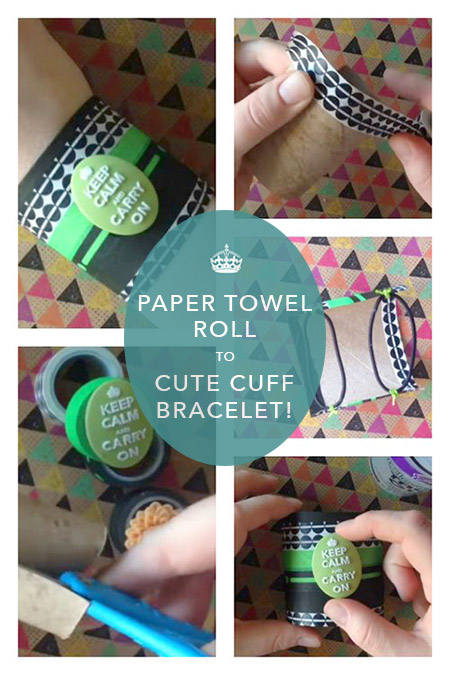 A recycled DIY cuff bracelet created out of a recycled cardboard tube and some washi tape!