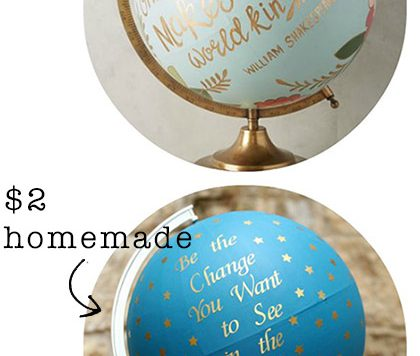Tutorial: Anthropologie Globe Knockoff - I loved the look and the idea behind this $200 globe at Anthro, so I made my own version.