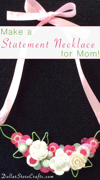 DIY Button Bib Necklace - Jewelry is a classic Mother's Day gift option, and handmade jewelry is sure to make mom happy.  This bib-style necklace is a great project if you have a stash of buttons on hand; even if you have to go out and buy buttons, it shouldn't cost you more than a few bucks!