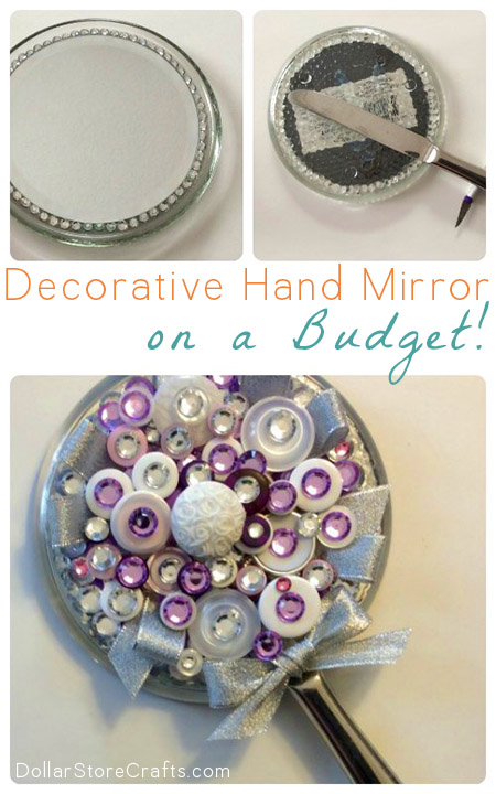 DIY Hand Mirror - Every girly-girl should have a pretty hand mirror! You could buy one from the store, but if you can't find one that you like, or you want one that is special and unique, it's super easy to make one from scratch!