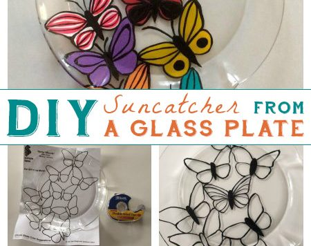 Glass Plate Suncatcher - Liven up your windows for spring with a bright, cheerful suncatcher made from a glass plate! It's inspired by stained glass, but unlike actual stained glass this project doesn't require any special tools or skills..