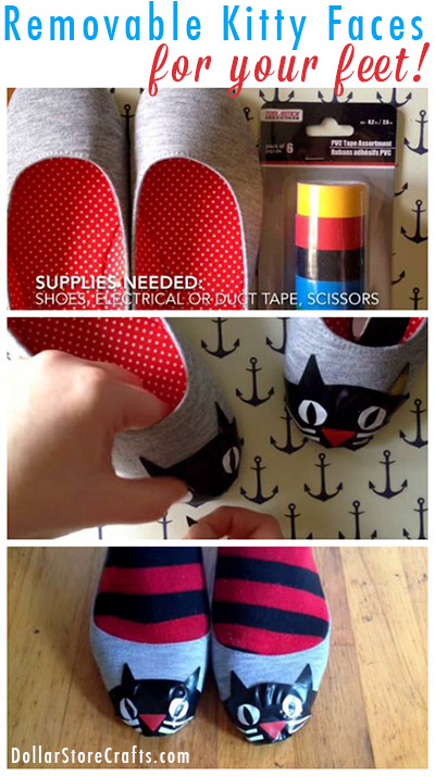 Give your shoes a temporary kitty makeover! Heather used electrical tape to make adorable cat faces on the toes of a pair of plain flats to dress them up. This is a great way to add a little bit of fun to your outfit, while still leaving your favorite flats wearable for other occasions. When you're done, simply peel off the tape and the shoes go back to their original state.