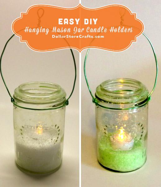 Tutorial Hanging Mason Jar Candle Holders Dollar Store Crafts