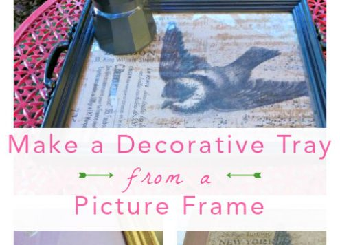 Decorative Tray from Photo Frames - I used bits and pieces from both the thrift store and my home to make a beautiful tray. I love the way it looks on my coffee table!