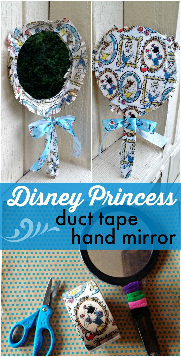 Disney Princess Duct Tape hand mirror - simple duct tape craft, and I love that Disney Princess duct tape!