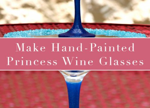 Paint DIY Princess Wine Glasses - Not too long ago, someone posted pictured of Princess inspired wine glasses. Someone asked how to make them, and I offered to make a tutorial for the project. It took a while, but here it is: how to make glittery princess wine glasses!