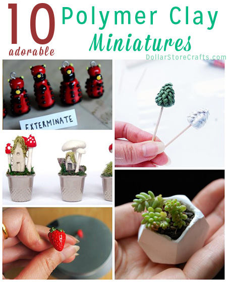 10 Miniatures to Make with Polymer Clay - Who doesn't love a cute miniature? Plus, these miniature polymer clay projects make great stashbusters. Use up every bit of the clay you bought!