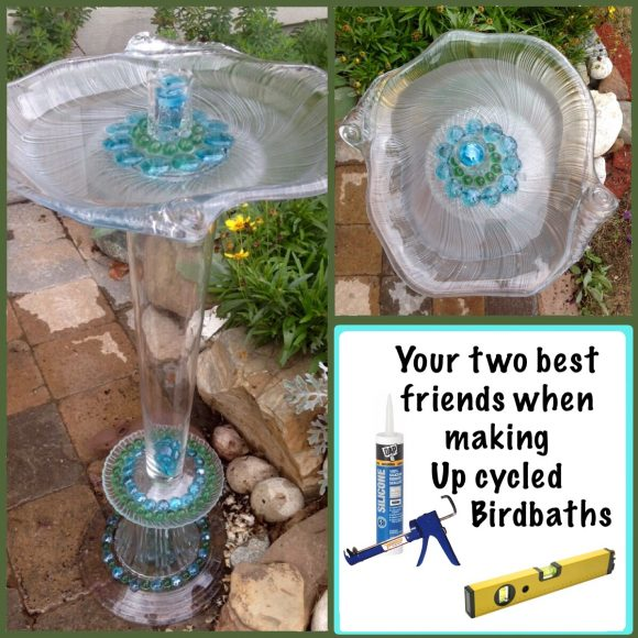 Upcycled Glassware Bird Bath