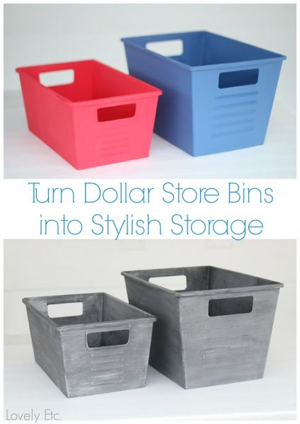 painted dollar store storeage containers