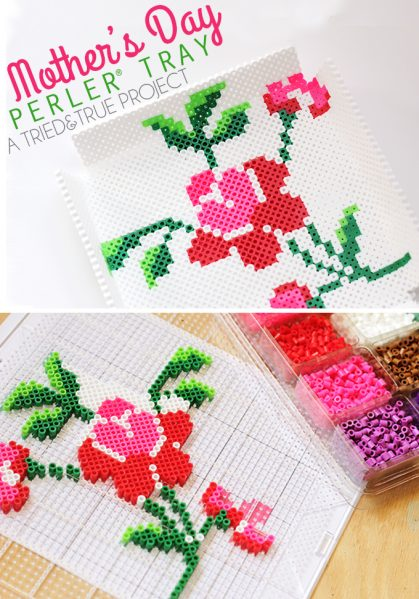 Make a Perler Bead Rose Tray
