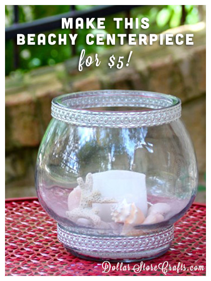 Coastal decor is a great way to incorporate beach items into your decorating, and summertime is the perfect time for maritime themed items.  Here's how you can take an old fish bowl and turn it into a catalog worthy centerpiece, for just a few bucks.