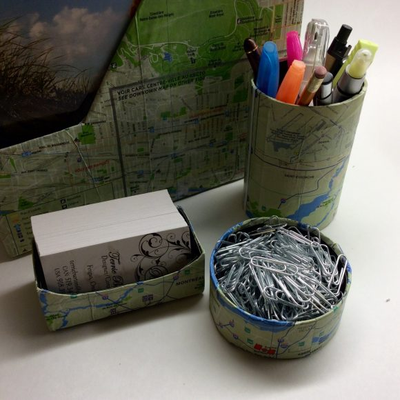 DIY Map Desk Set - Could your desk use a little help in the organization department? Make yourself a set of organizers using an assortment of items from the recycling bin! I covered mine with free maps I got while on vacation. You can use newspaper, magazine/book pages, scrapbook paper, wallpaper, music sheets, wrapping paper, or anything else you want to decorate yours!