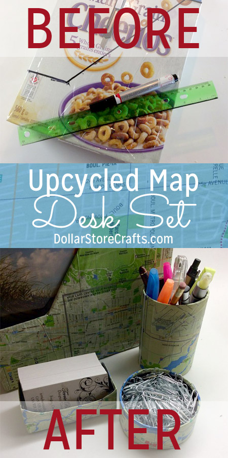 Could your desk use a little help in the organization department? Make yourself a set of organizers using an assortment of items from the recycling bin! I covered mine with free maps I got while on vacation. You can use newspaper, magazine/book pages, scrapbook paper, wallpaper, music sheets, wrapping paper, or anything else you want to decorate yours!