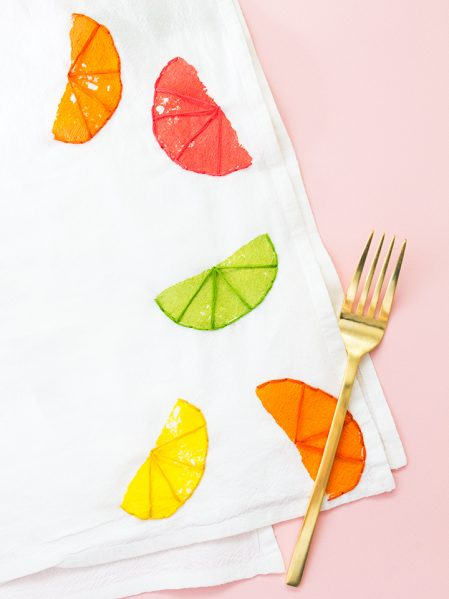 stamped and embroidered citrus tea towel