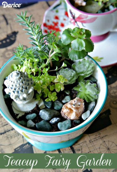 Make a mini garden out of a dollar store teacup or bowl!