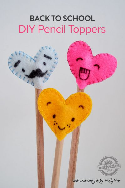 Felt Heart Pencil Toppers
