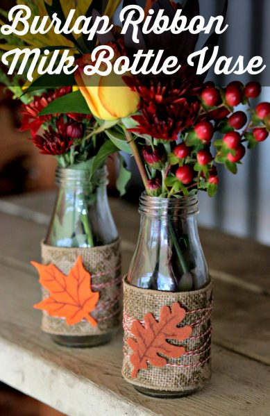 DIY Vase made of burlap ribbon - so pretty and easy!