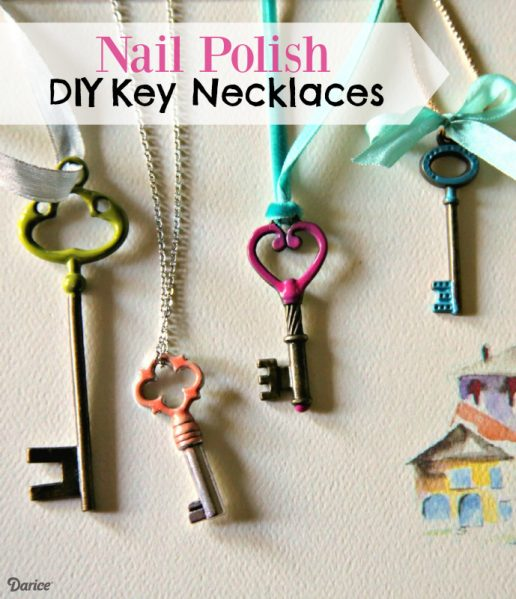 Make Painted Key Necklaces with Nail Polish