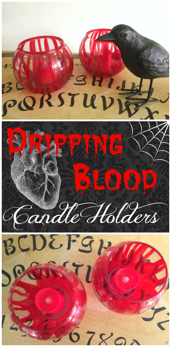 DIY Dripping Blood Candle Holders