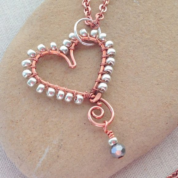 Beaded Wire Heart Pendant