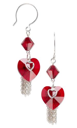 Make Crystal Heart Earrings