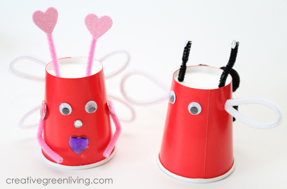 recycled valentine's day craft with paper cups