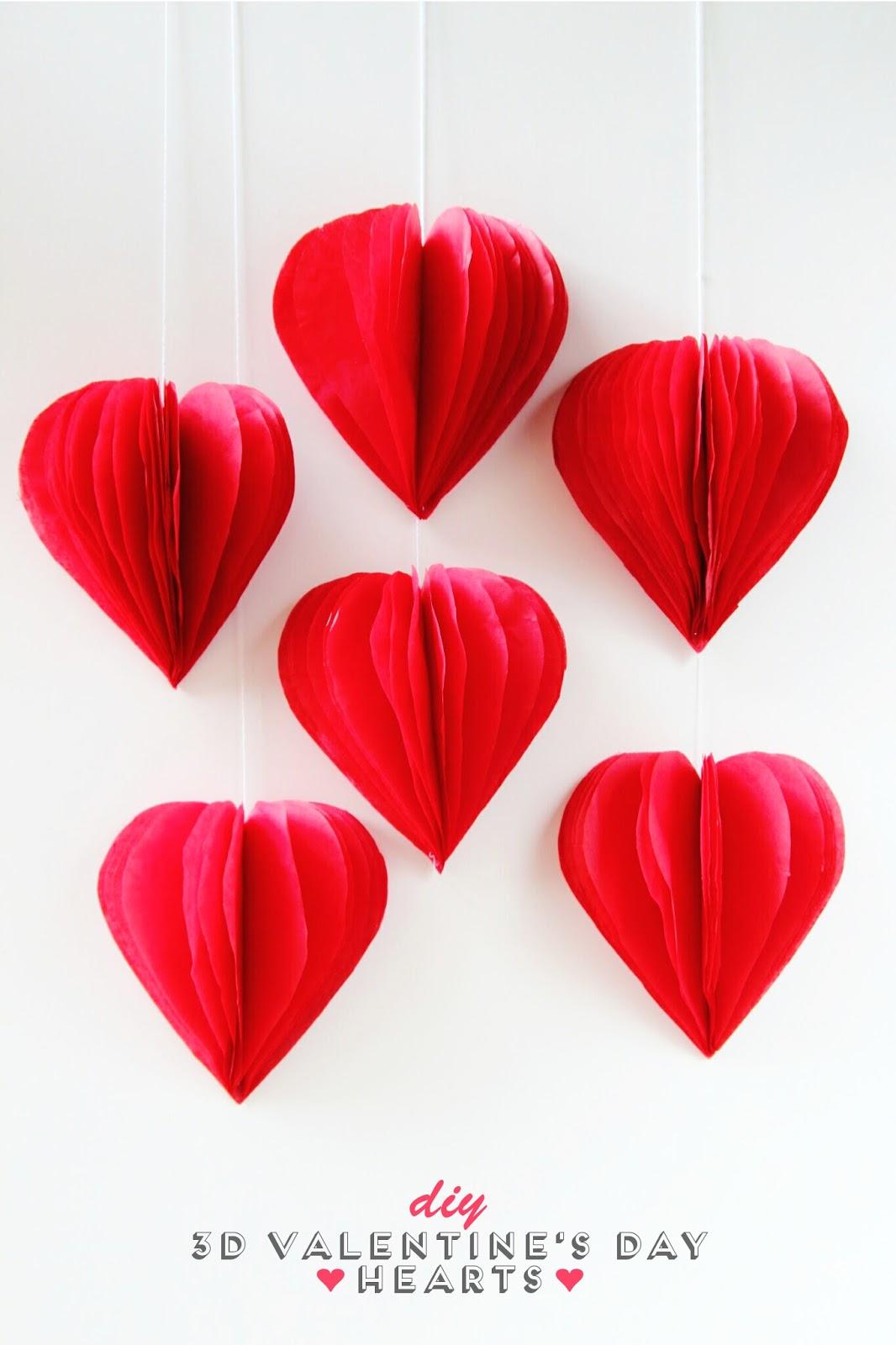 3D Tissue Paper Hearts