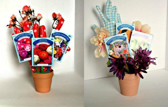 Make a gardening-themed flower arrangement from dollar store stuff