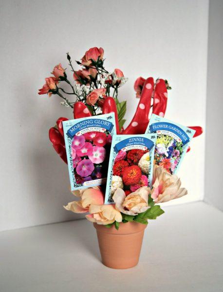 Make a Gardening Themed Bouquet - from dollar store stuff!