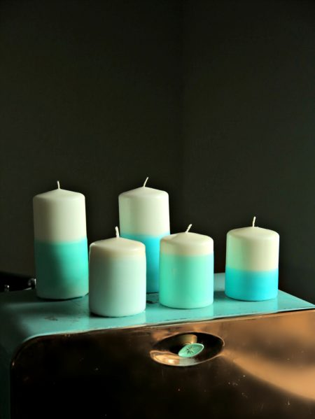 DIY Dip Dyed Candles Using Crayons