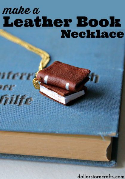 Make a mini leather-bound book necklace! Such a cute and easy jewelry craft idea