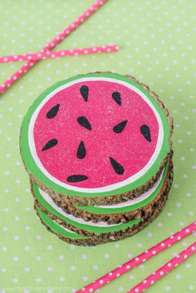 Wood Slice Watermelon Coasters