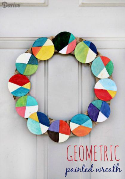 DIY Geometric Painted Wood Wreath