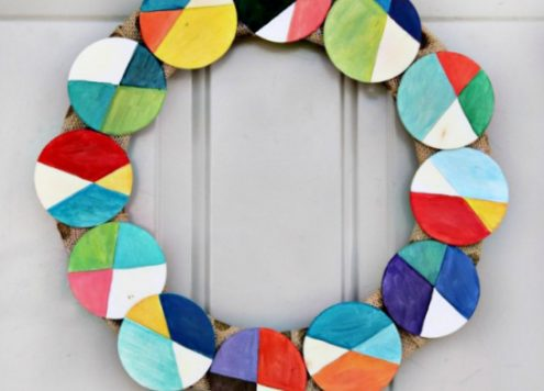 DIY Geometric Painted Wood Wreath