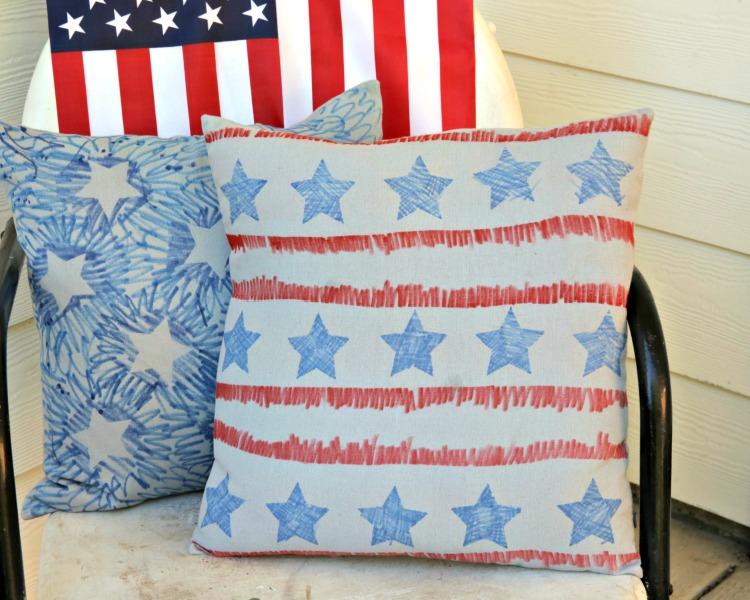 make a patriotic pillow cover dollar store crafts. Black Bedroom Furniture Sets. Home Design Ideas