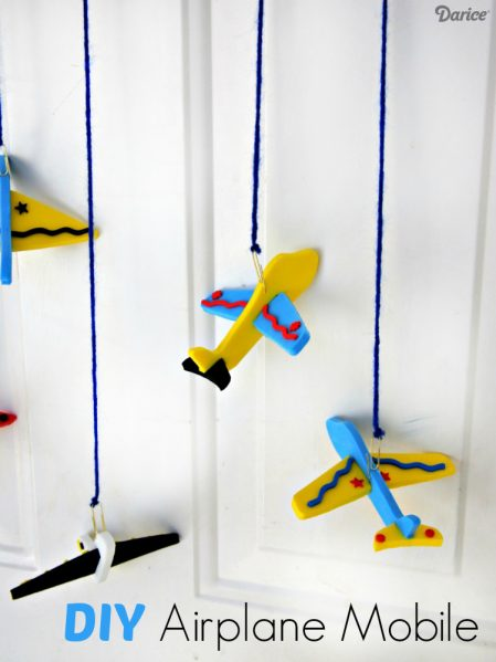 Dollar store craft: DIY Airplane Mobile - kids craft idea