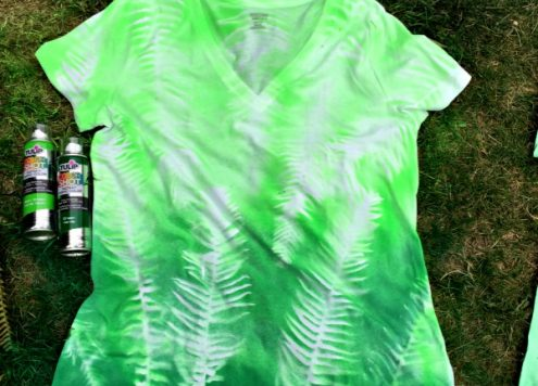 DIY Botanical spray painted t-shirt - smart to use ferns for this project! - Dollar Store Crafts