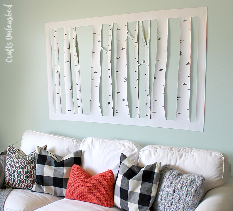 Make aspen tree wall art dollar store crafts for Diy tree wall mural