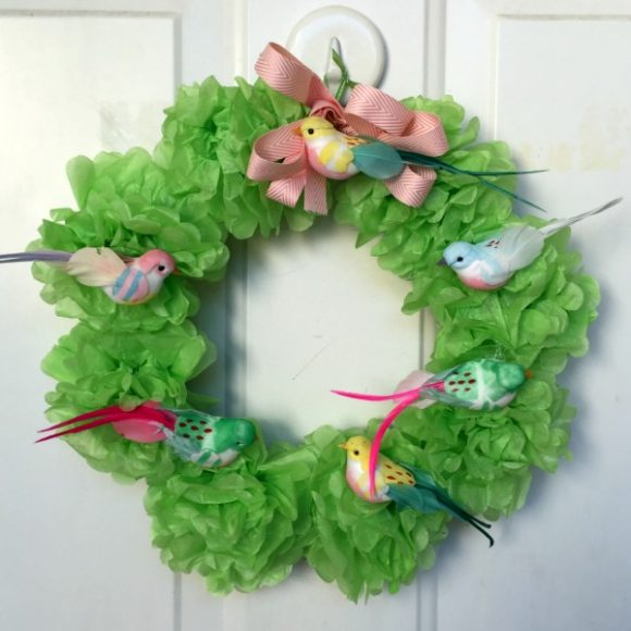 How to Make a Tissue Pom-Pom Wreath - Dollar Store Crafts