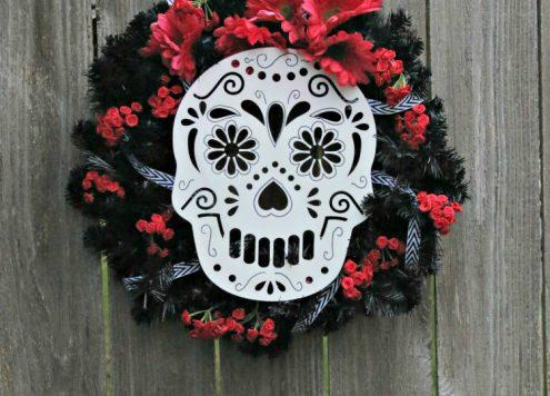 DIY Sugar Skull Wreath for Day of the Dead - Dia de Los Muertos - Dollar Store Crafts