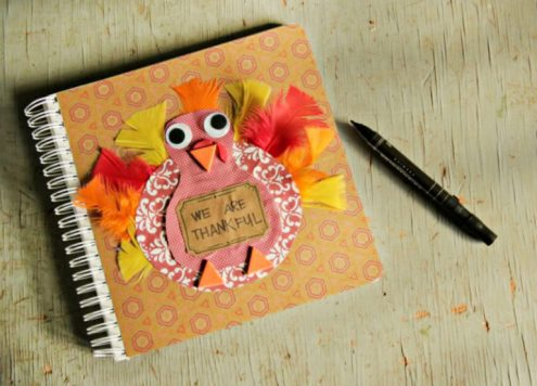 DIY Gratitude Journal for the Family - Thanksgiving craft idea from Dollar Store Crafts