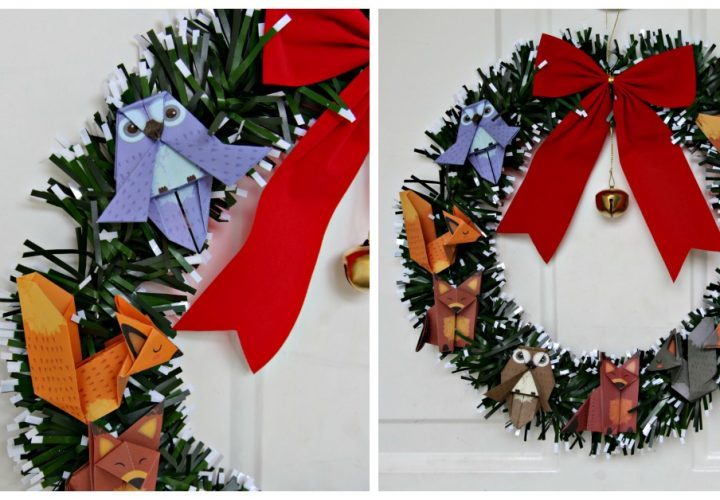 DIY Woodland Animal Origami Wreath - great holiday craft idea, made with dollar store stuff for $2