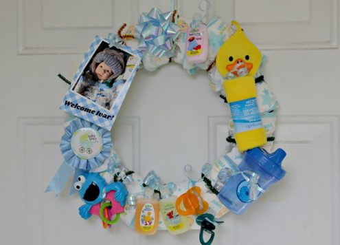 DIY Baby Shower Diaper Wreath - Dollar Store Craft
